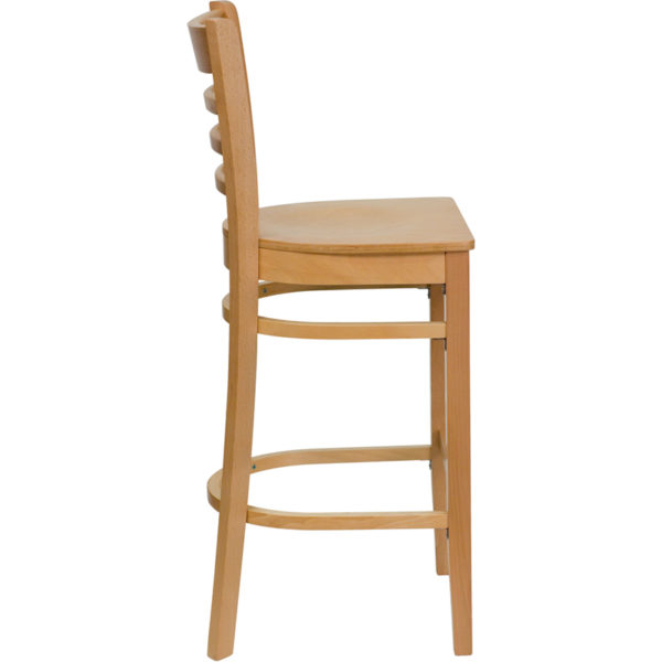 Lowest Price HERCULES Series Ladder Back Natural Wood Restaurant Barstool