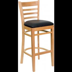 Wholesale HERCULES Series Ladder Back Natural Wood Restaurant Barstool - Black Vinyl Seat
