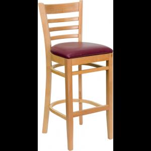 Wholesale HERCULES Series Ladder Back Natural Wood Restaurant Barstool - Burgundy Vinyl Seat