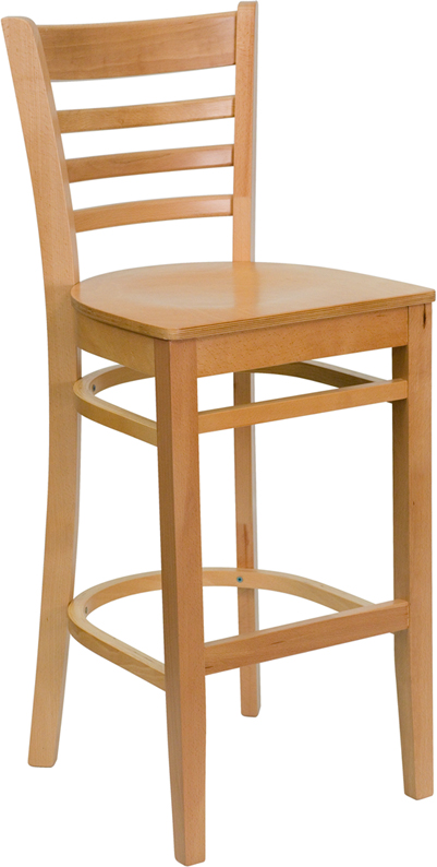 Wholesale HERCULES Series Ladder Back Natural Wood Restaurant Barstool