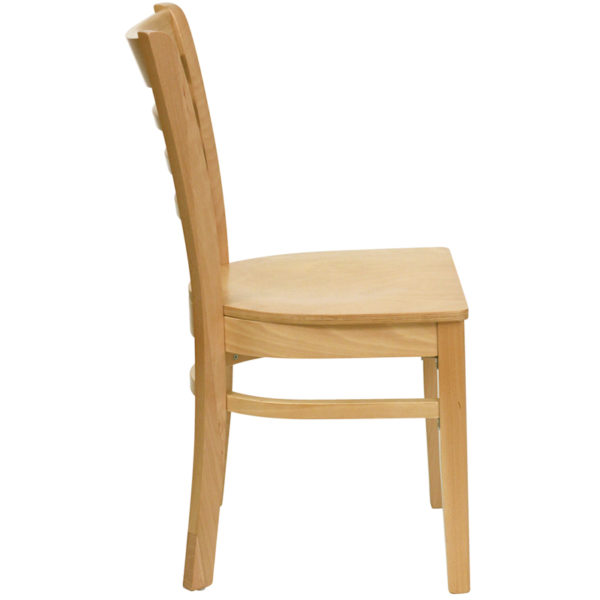 Lowest Price HERCULES Series Ladder Back Natural Wood Restaurant Chair