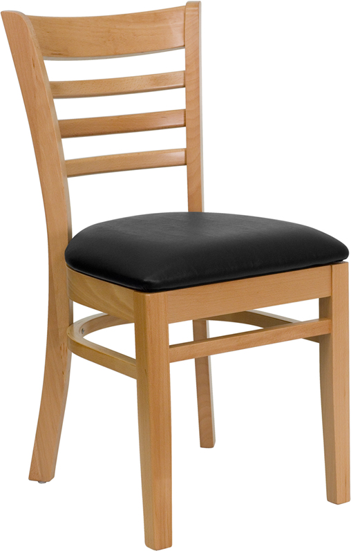 Wholesale HERCULES Series Ladder Back Natural Wood Restaurant Chair - Black Vinyl Seat