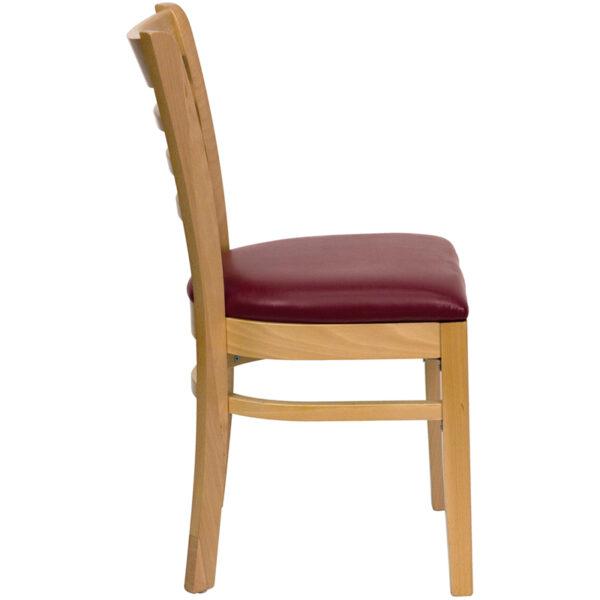 Lowest Price HERCULES Series Ladder Back Natural Wood Restaurant Chair - Burgundy Vinyl Seat