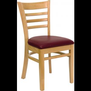 Wholesale HERCULES Series Ladder Back Natural Wood Restaurant Chair - Burgundy Vinyl Seat