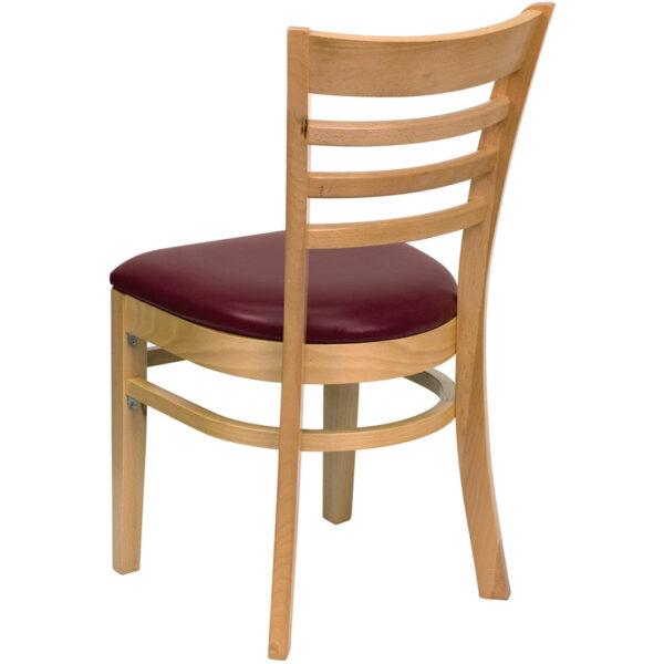 Wood Dining Chair Natural Wood Chair-Burg Vinyl