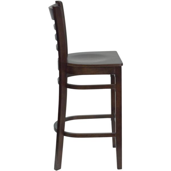 Lowest Price HERCULES Series Ladder Back Walnut Wood Restaurant Barstool