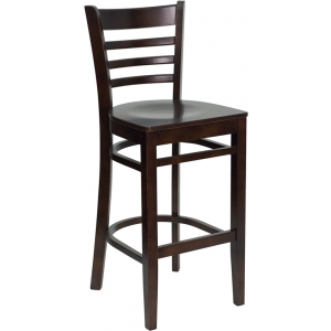 Wholesale HERCULES Series Ladder Back Walnut Wood Restaurant Barstool