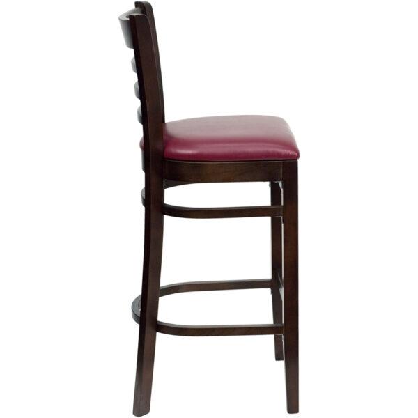 Lowest Price HERCULES Series Ladder Back Walnut Wood Restaurant Barstool - Burgundy Vinyl Seat