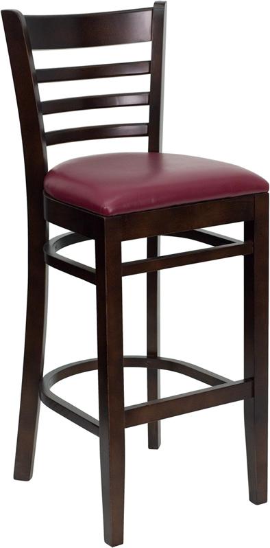 Wholesale HERCULES Series Ladder Back Walnut Wood Restaurant Barstool - Burgundy Vinyl Seat