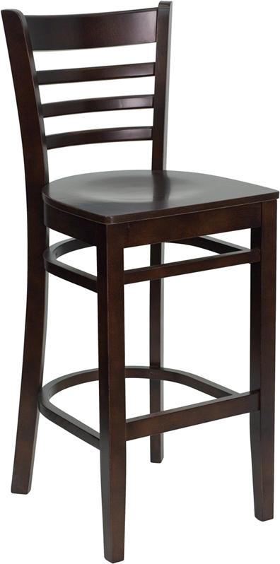 Wholesale HERCULES Series Ladder Back Walnut Wood Restaurant Barstool