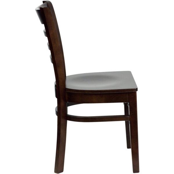 Lowest Price HERCULES Series Ladder Back Walnut Wood Restaurant Chair