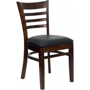 Wholesale HERCULES Series Ladder Back Walnut Wood Restaurant Chair - Black Vinyl Seat