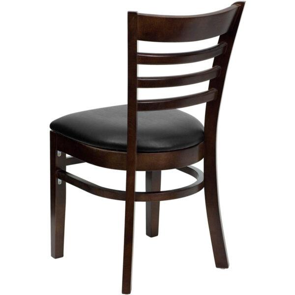 Wood Dining Chair Walnut Wood Chair-Blk Vinyl