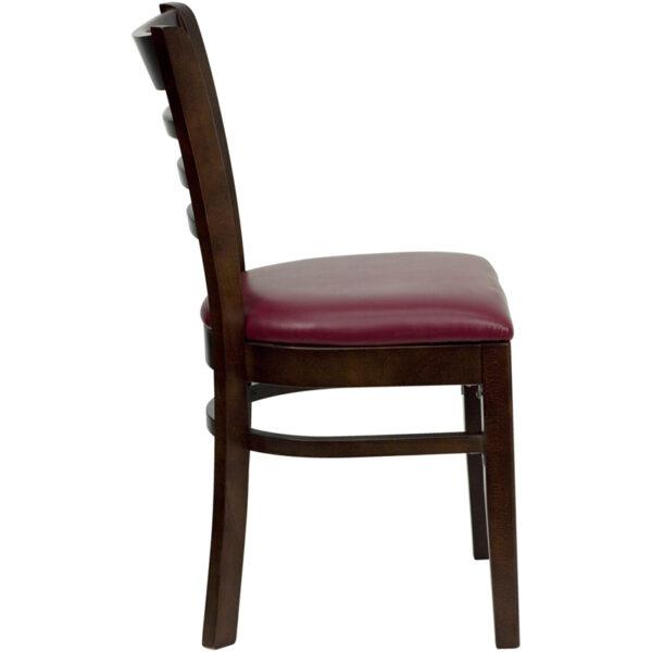 Lowest Price HERCULES Series Ladder Back Walnut Wood Restaurant Chair - Burgundy Vinyl Seat