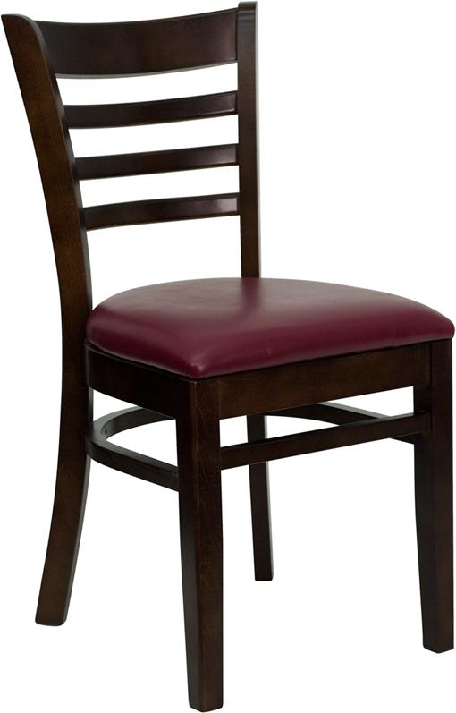 Wholesale HERCULES Series Ladder Back Walnut Wood Restaurant Chair - Burgundy Vinyl Seat