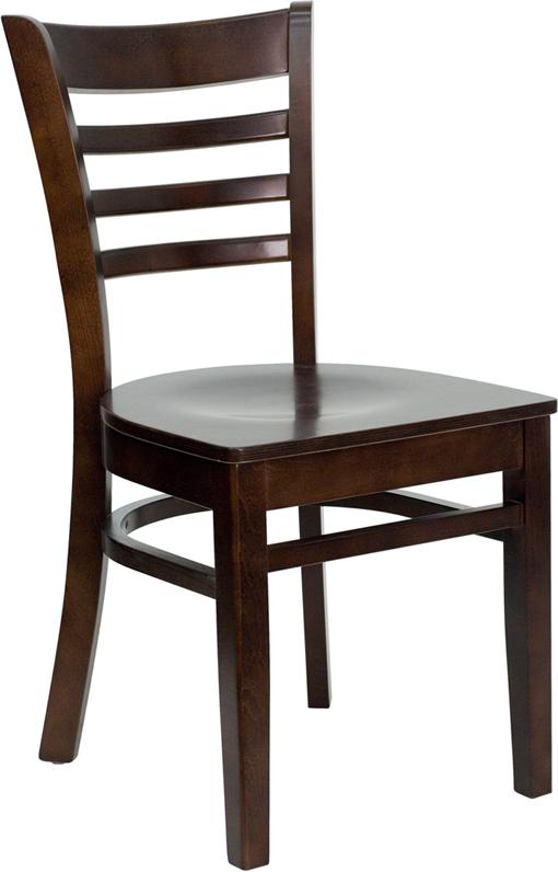 Wholesale HERCULES Series Ladder Back Walnut Wood Restaurant Chair