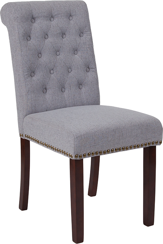 Wholesale HERCULES Series Light Gray Fabric Parsons Chair with Rolled Back