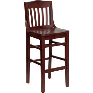 Wholesale HERCULES Series School House Back Mahogany Wood Restaurant Barstool