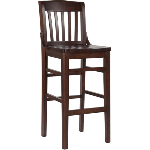 Wholesale HERCULES Series School House Back Walnut Wood Restaurant Barstool