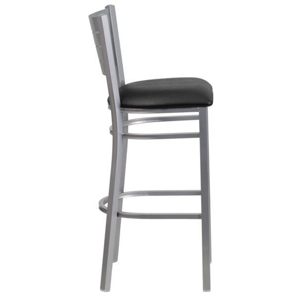 Lowest Price HERCULES Series Silver Slat Back Metal Restaurant Barstool - Black Vinyl Seat