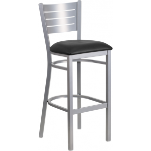 Wholesale HERCULES Series Silver Slat Back Metal Restaurant Barstool - Black Vinyl Seat
