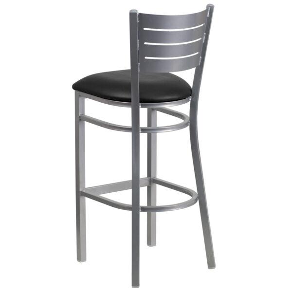 Metal Dining Bar Stool Silver Slat Stool-Black Seat