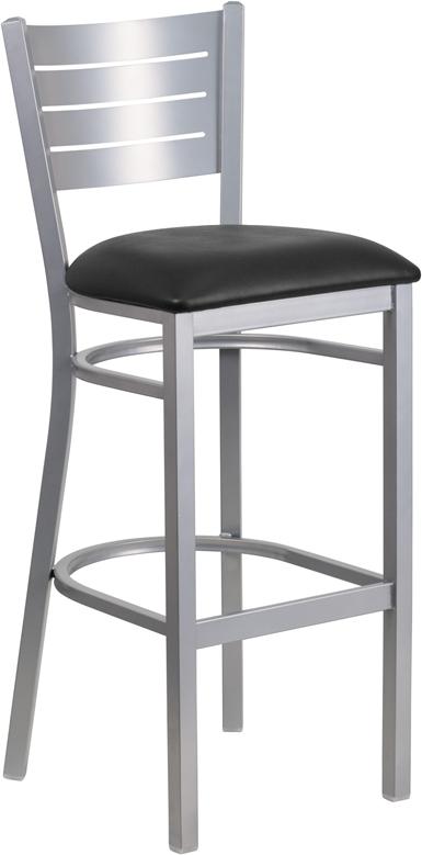 Wholesale HERCULES Series Silver Slat Back Metal Restaurant Barstool - Black Vinyl Seat