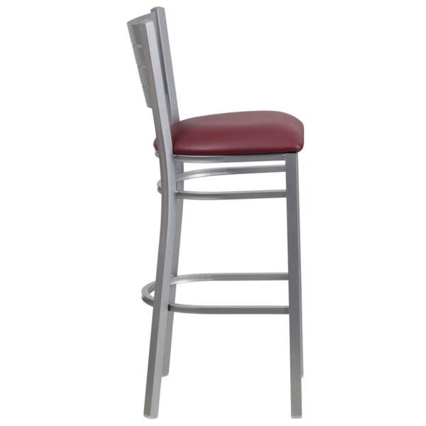 Lowest Price HERCULES Series Silver Slat Back Metal Restaurant Barstool - Burgundy Vinyl Seat