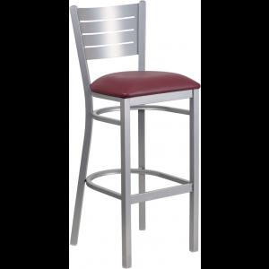Wholesale HERCULES Series Silver Slat Back Metal Restaurant Barstool - Burgundy Vinyl Seat