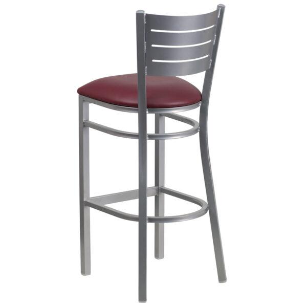Metal Dining Bar Stool Silver Slat Stool-Burg Seat
