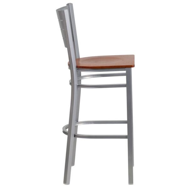 Lowest Price HERCULES Series Silver Slat Back Metal Restaurant Barstool - Cherry Wood Seat