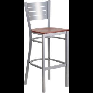 Wholesale HERCULES Series Silver Slat Back Metal Restaurant Barstool - Cherry Wood Seat