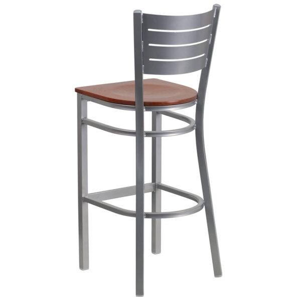 Metal Dining Bar Stool Silver Slat Stool-Chy Seat
