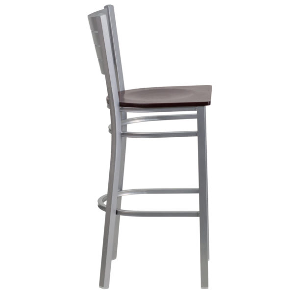 Lowest Price HERCULES Series Silver Slat Back Metal Restaurant Barstool - Mahogany Wood Seat