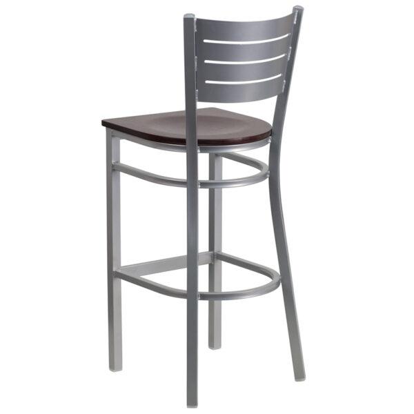 Metal Dining Bar Stool Silver Slat Stool-Mah Seat