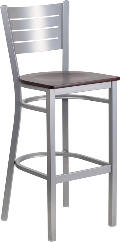 Wholesale HERCULES Series Silver Slat Back Metal Restaurant Barstool - Mahogany Wood Seat