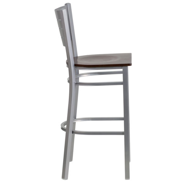 Lowest Price HERCULES Series Silver Slat Back Metal Restaurant Barstool - Walnut Wood Seat