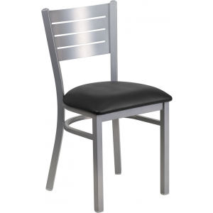 Wholesale HERCULES Series Silver Slat Back Metal Restaurant Chair - Black Vinyl Seat