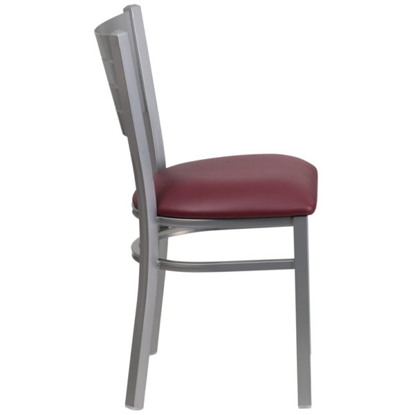 Lowest Price HERCULES Series Silver Slat Back Metal Restaurant Chair - Burgundy Vinyl Seat