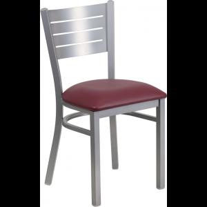 Wholesale HERCULES Series Silver Slat Back Metal Restaurant Chair - Burgundy Vinyl Seat