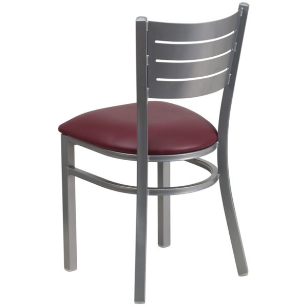 Metal Dining Chair Silver Slat Chair-Burg Seat