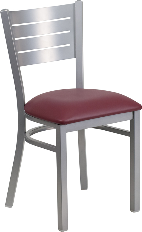 Wholesale HERCULES Series Silver Slat Back Metal Restaurant Chair - Burgundy Vinyl Seat