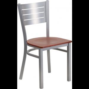Wholesale HERCULES Series Silver Slat Back Metal Restaurant Chair - Cherry Wood Seat