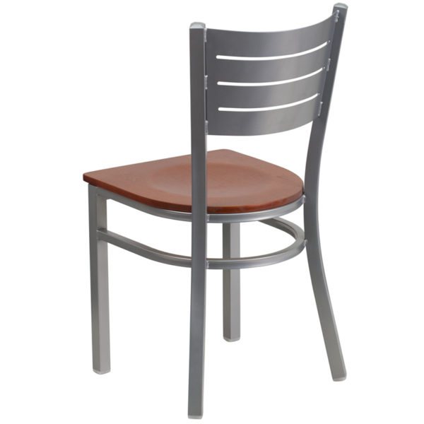 Metal Dining Chair Silver Slat Chair-Chy Seat