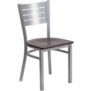 Wholesale HERCULES Series Silver Slat Back Metal Restaurant Chair - Mahogany Wood Seat