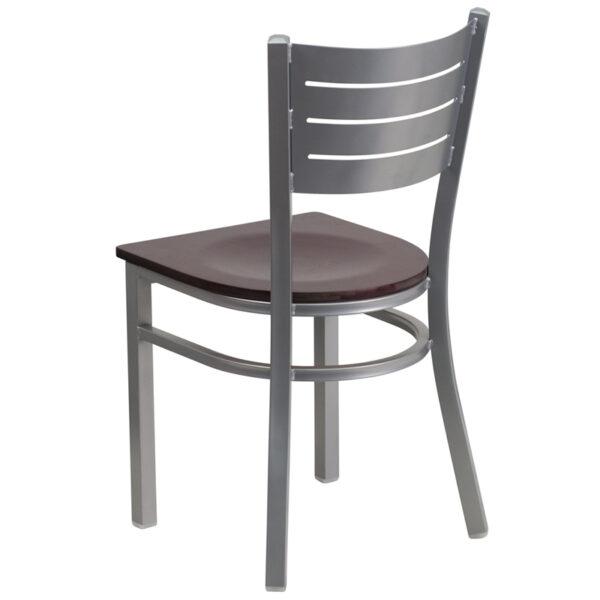 Metal Dining Chair Silver Slat Chair-Mah Seat