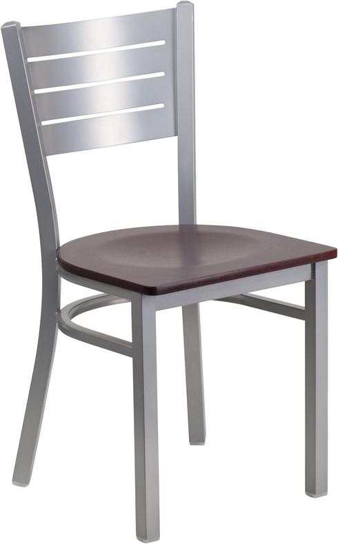 Wholesale HERCULES Series Silver Slat Back Metal Restaurant Chair - Mahogany Wood Seat