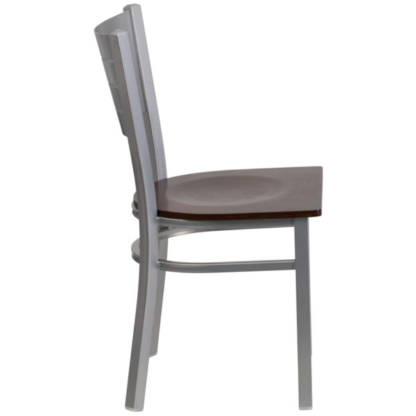 Lowest Price HERCULES Series Silver Slat Back Metal Restaurant Chair - Walnut Wood Seat