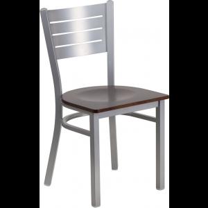 Wholesale HERCULES Series Silver Slat Back Metal Restaurant Chair - Walnut Wood Seat