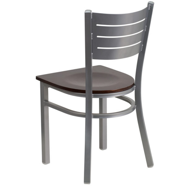 Metal Dining Chair Silver Slat Chair-Wal Seat